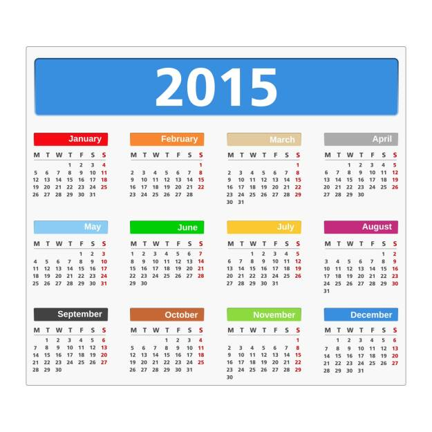 Wandkalender, Kalender, Jahresplaner, Planung, Datum, http://www.shutterstock.com/de/pic-208757101/stock-vector--calendar-on-white-background-vector-ps-illustration.html, © www.shutterstock.com (19.06.2018)