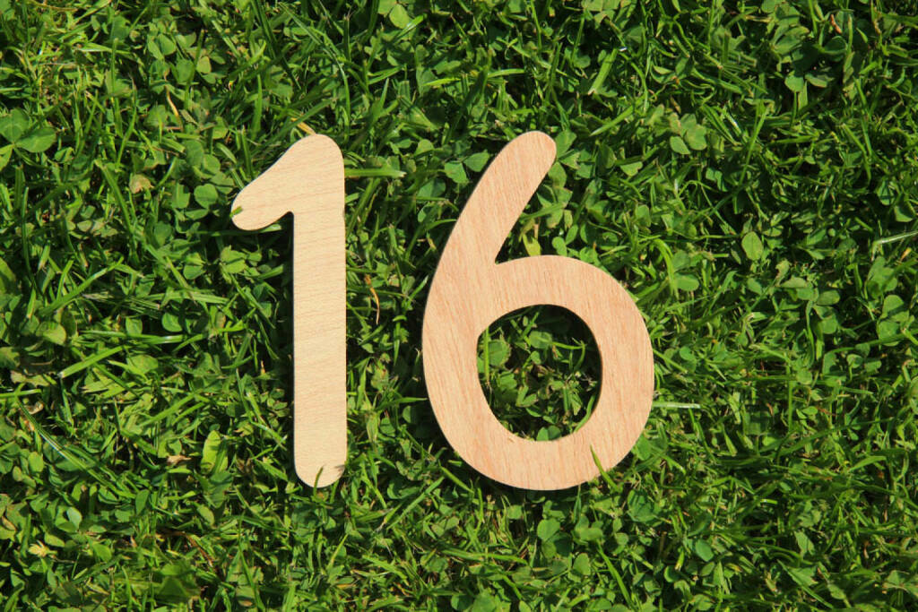 16, Sechzehn, http://www.shutterstock.com/de/pic-144992860/stock-photo-wooden-number-on-a-grass-and-clover-background.html, © (www.shutterstock.com) (29.09.2014)