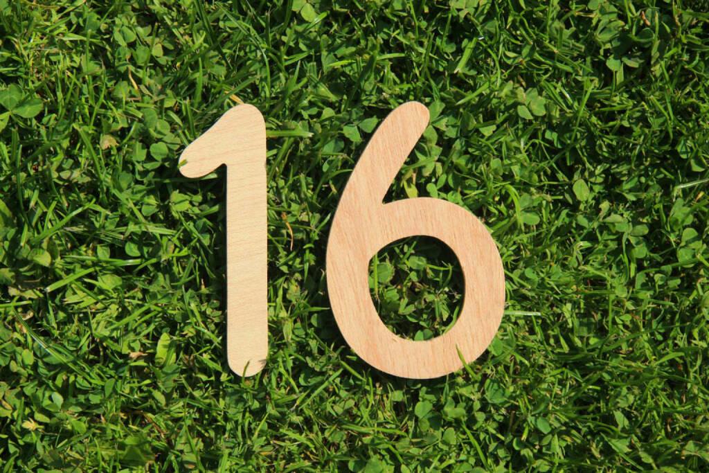16, Sechzehn, http://www.shutterstock.com/de/pic-144992860/stock-photo-wooden-number-on-a-grass-and-clover-background.html, © (www.shutterstock.com) (29.09.2014)