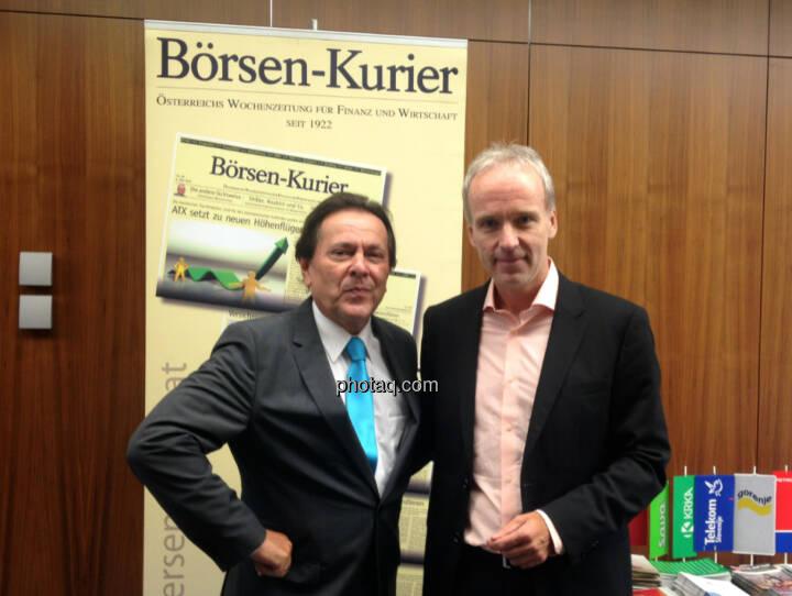 Peter Muzik, Christian Drastil vor dem Börsen-Kurier-Rollup. Vor zehn Jahren waren sie WirtschaftsBlatt-Chefredakteure, Print und Online