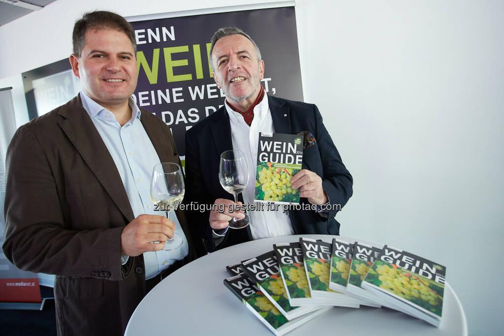 Franz Messeritsch, Diplom-Sommelier und Alexander Jakabb, Redaktion Wein Guide Österreich Weiss 2014: medianet Verlag AG: Wein Guide Weiss 2014, © Aussender (30.09.2014)