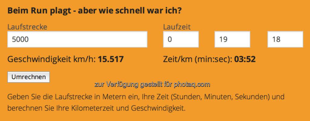 Speedrechner auf http://www.runplugged.com , Pace 3:52 (30.09.2014)