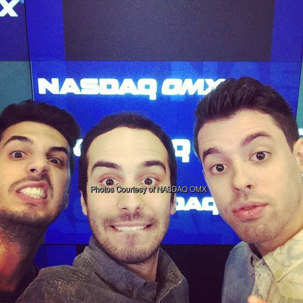 Cash Cash takes a #selfie at @nasdaq for their surprise @Shazam Concert! @cashcashmusic  Source: http://facebook.com/NASDAQ (01.10.2014)