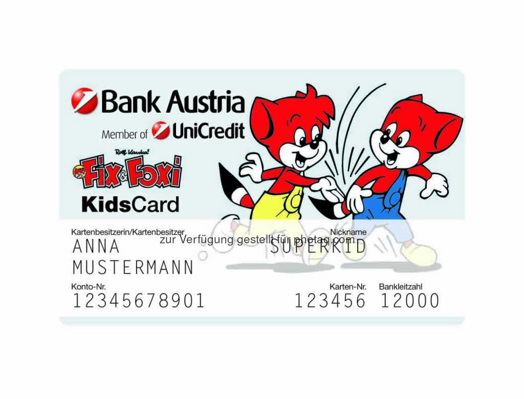 Fix&Foxi KidsCard - Von 1. Oktober bis 30. November 2014 eröffnete KidsCards bieten 3 Prozent Fixzinsen p.a. bis 31. Dezember 2015 bei Guthaben bis 1.000 Euro (Bild: Bank Austria), © Aussendung (01.10.2014)