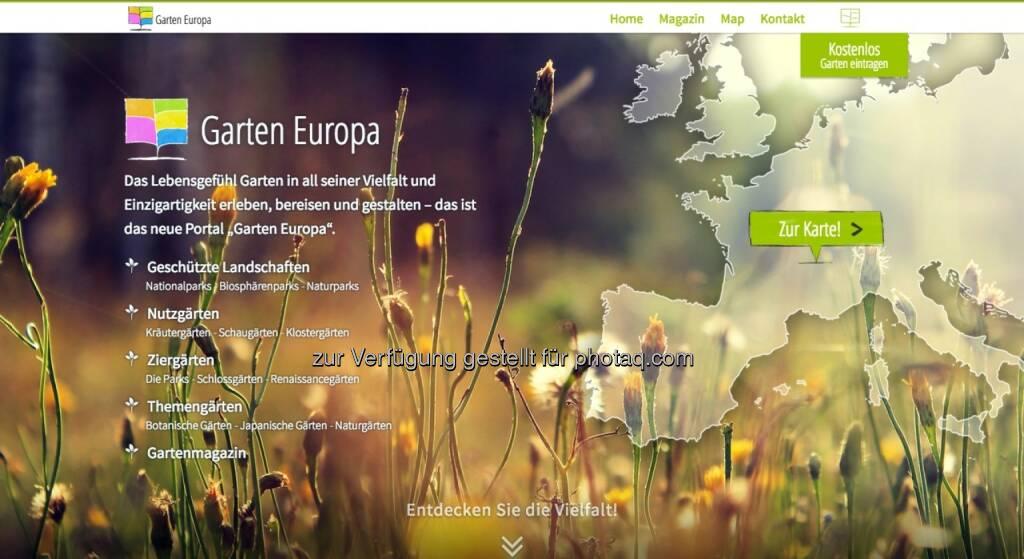 Garten Europa: 30.000 Gärten - ein Portal: Garten Europa, © Aussender (01.10.2014)