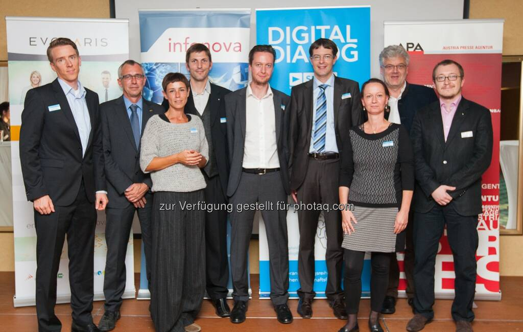 Christian Morawetz (Fraunhofer Austria), Dirk Denker (AVL List), Andrea Denger (Virtual Vehicle), Hannes Robier (youspie Consulting), Peter Brandl (evolaris), Christian Kittl (evolaris), Stefanie Lindstaedt (Know-Center), Gerhard Greiner (Infonova), Patrick Schweighofer (Campus 02).: evolaris next level GmbH: Digitaldialog: ExpertInnen diskutieren den Einzug von Industrie 4.0 in die Österreichische Industrie- und Forschungslandschaft, © Aussendung (02.10.2014)