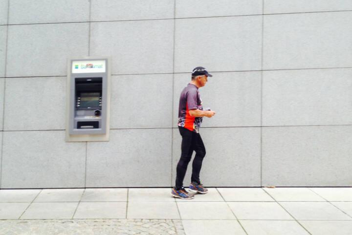 Bankomat, Geld, abheben, laufen, Läufer