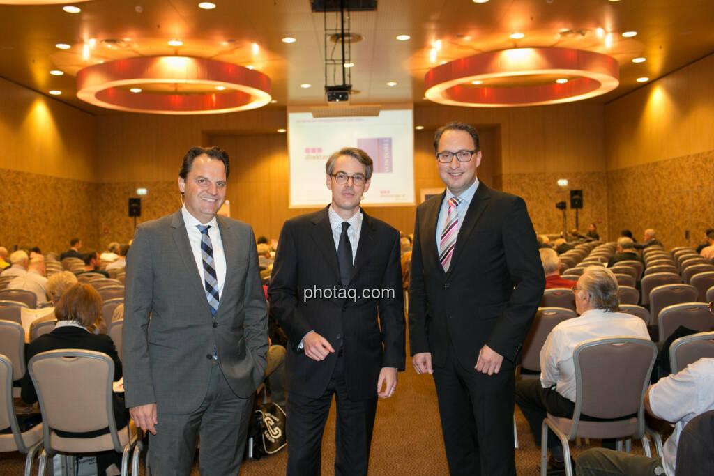 Jens Korte (Wirtschaftsjournalist), Heiko Geiger (Vontobel), Paul Reitinger (direktanlage), © photaq/Martina Draper (09.10.2014)