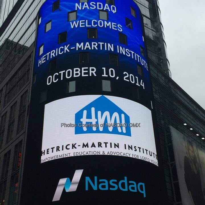 After the bell @HetrickMartin is in #TimesSquare to celebrate #ComingOutDay tomorrow! #HMI35 #LGBT  Source: http://facebook.com/NASDAQ