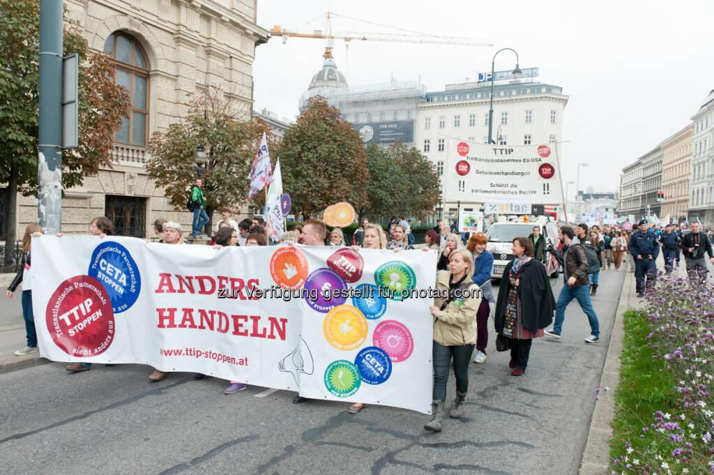 Global 2000: Hunderttausende auf Europas Straßen: Stopp TTIP, CETA und TiSA!, © Aussender (12.10.2014)