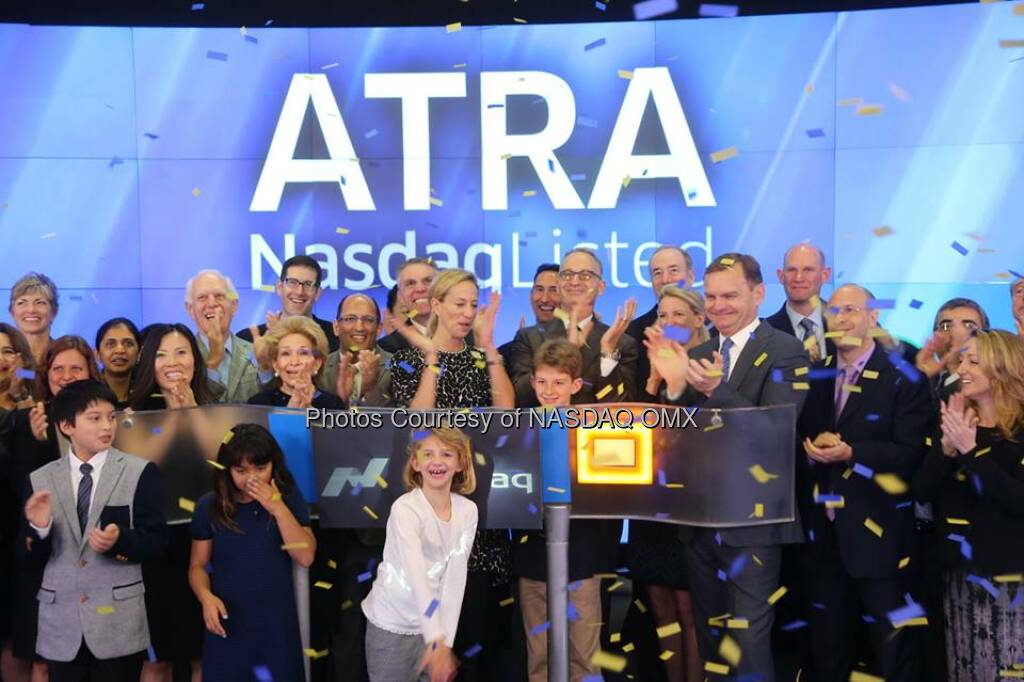 Atara Biotherapeutics is now trading on @NASDAQ. Welcome to the #NASDAQ Family $ATRA!  Source: http://facebook.com/NASDAQ (16.10.2014)