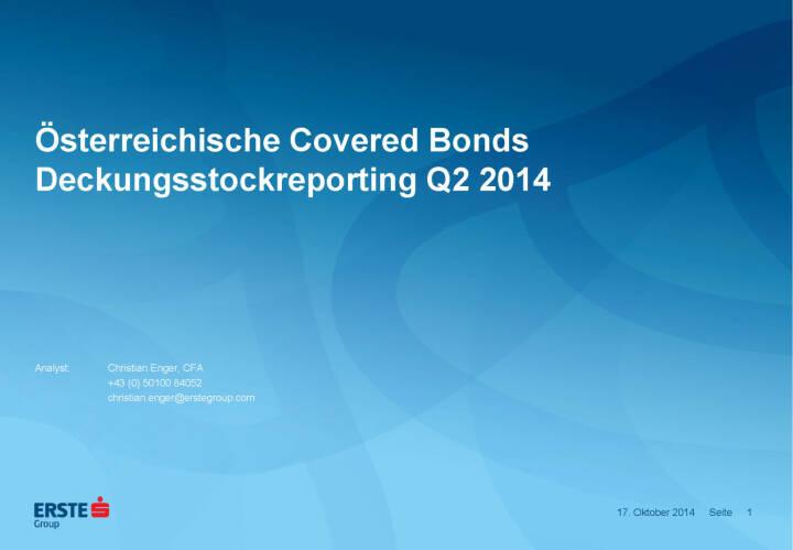Österreichische Covered Bonds Deckungsstockreporting Q2 2014