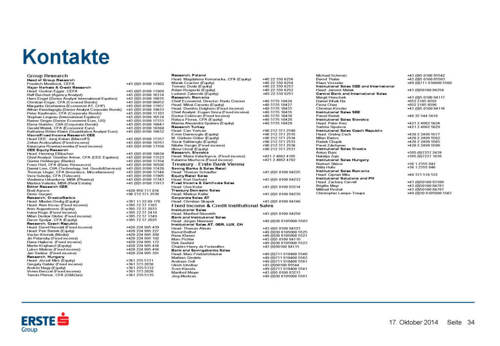 Kontakte, © Erste Group Research (17.10.2014)