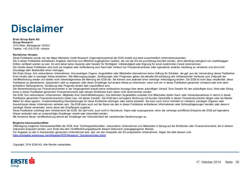 Disclaimer, © Erste Group Research (17.10.2014)