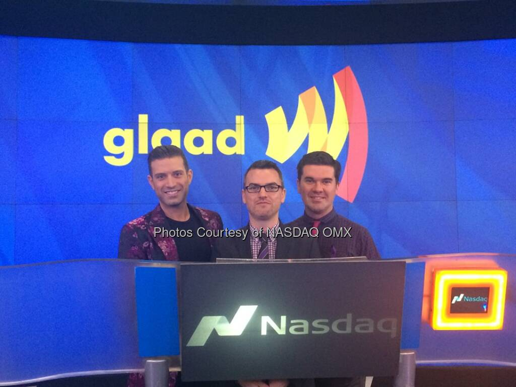 We have @Glaad here at #NASDAQ to ring the Opening Bell in honor of #SpiritDay with @Nasdaq exec host @DavidWicks  Source: http://facebook.com/NASDAQ (17.10.2014)