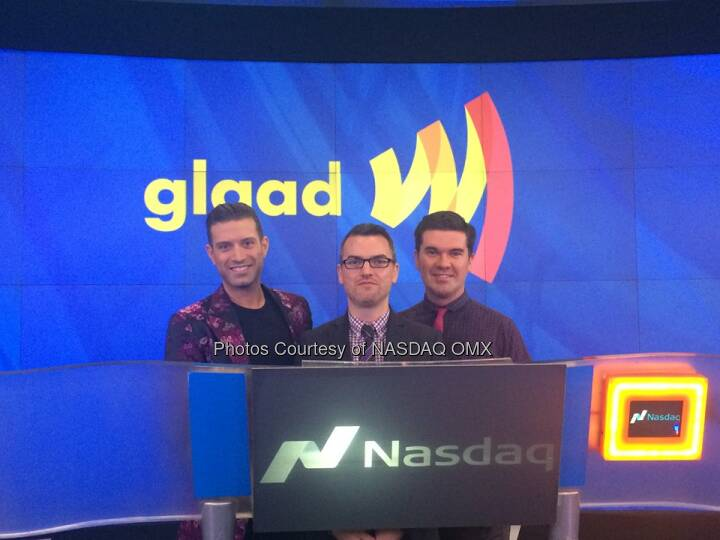 We have @Glaad here at #NASDAQ to ring the Opening Bell in honor of #SpiritDay with @Nasdaq exec host @DavidWicks  Source: http://facebook.com/NASDAQ