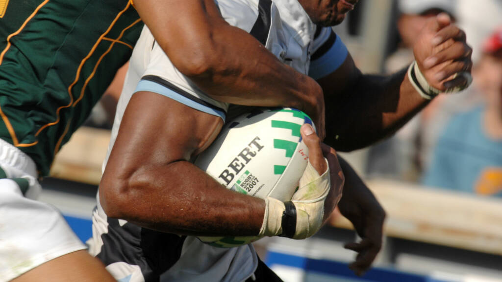 Verteidigung, defensiv, Fiji vs South Africa, Rugby World Cup  <a href=http://www.shutterstock.com/gallery-1633145p1.html?cr=00&pl=edit-00>Paolo Bona</a> / <a href=http://www.shutterstock.com/editorial?cr=00&pl=edit-00>Shutterstock.com</a>, © www.shutterstock.com (21.09.2018)