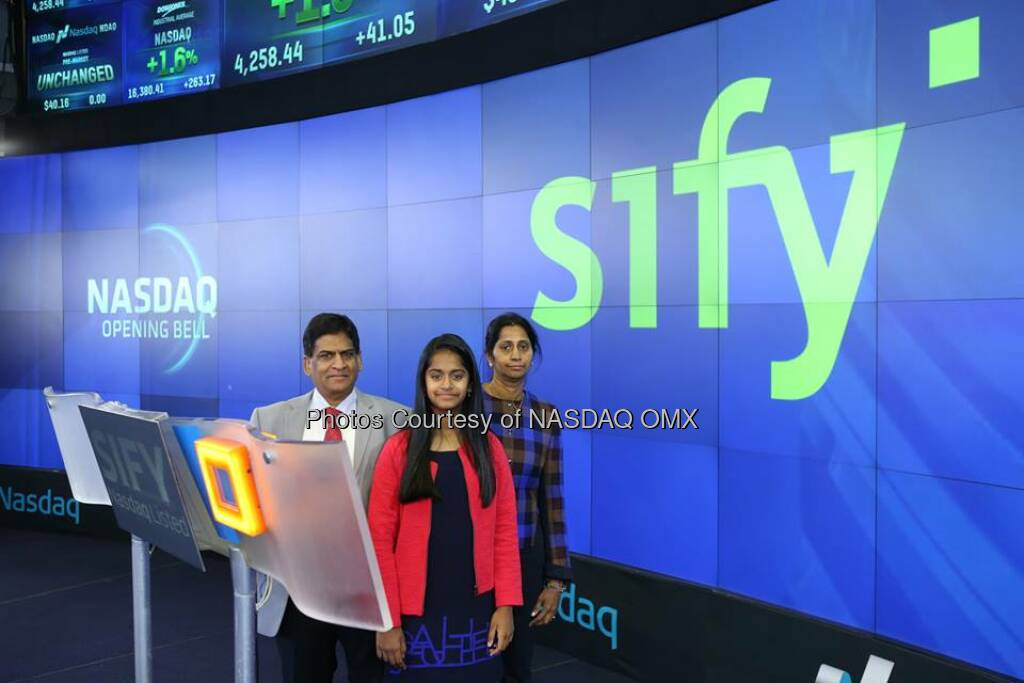 Sify rings the #NASDAQ Opening Bell!$SIFY  Source: http://facebook.com/NASDAQ (21.10.2014)