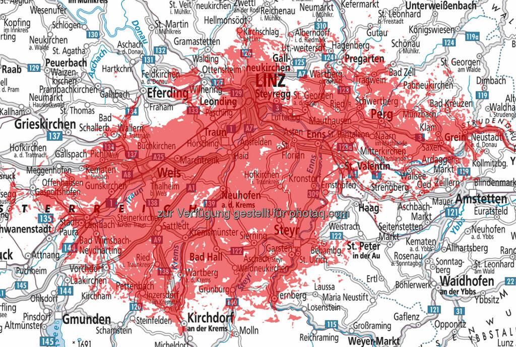 Hutchison Drei Austria Gmbh: Drei startet mit größtem LTE-Netz im Großraum Linz, Perg, Wels, Steyr, © Aussendung (21.10.2014)