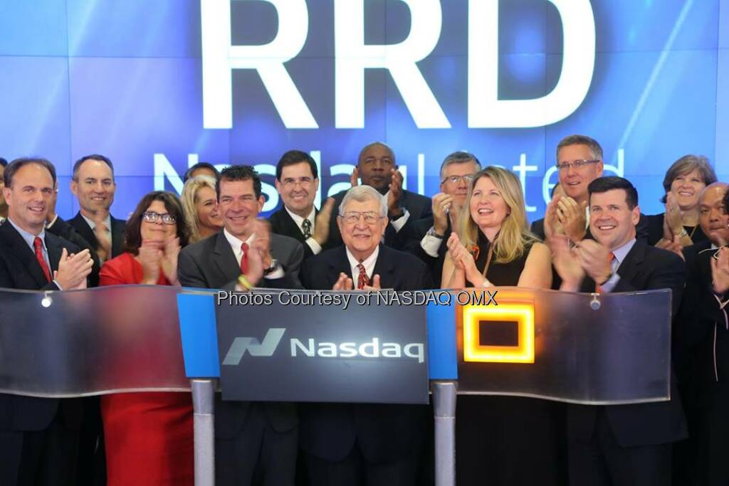 RR Donnelley & Sons Company $RRD rings the Nasdaq Opening Bell  Source: http://facebook.com/NASDAQ (21.10.2014)