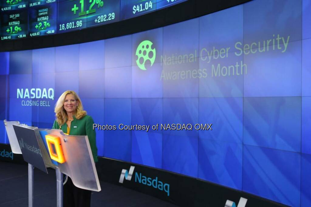 National Cyber Security Alliance rings the Nasdaq Closing Bell! #NCSAM  Source: http://facebook.com/NASDAQ (22.10.2014)