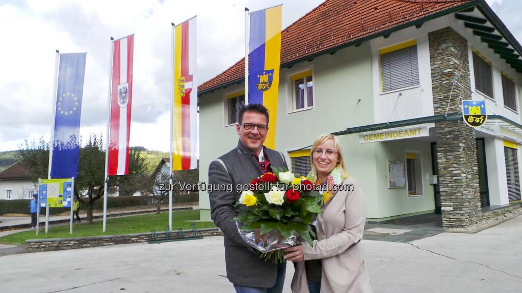 BZÖ-Korak: LAbg. Willi Korak gratuliert Tamara Skubel zur Vizebürgermeisterin (23.10.2014)