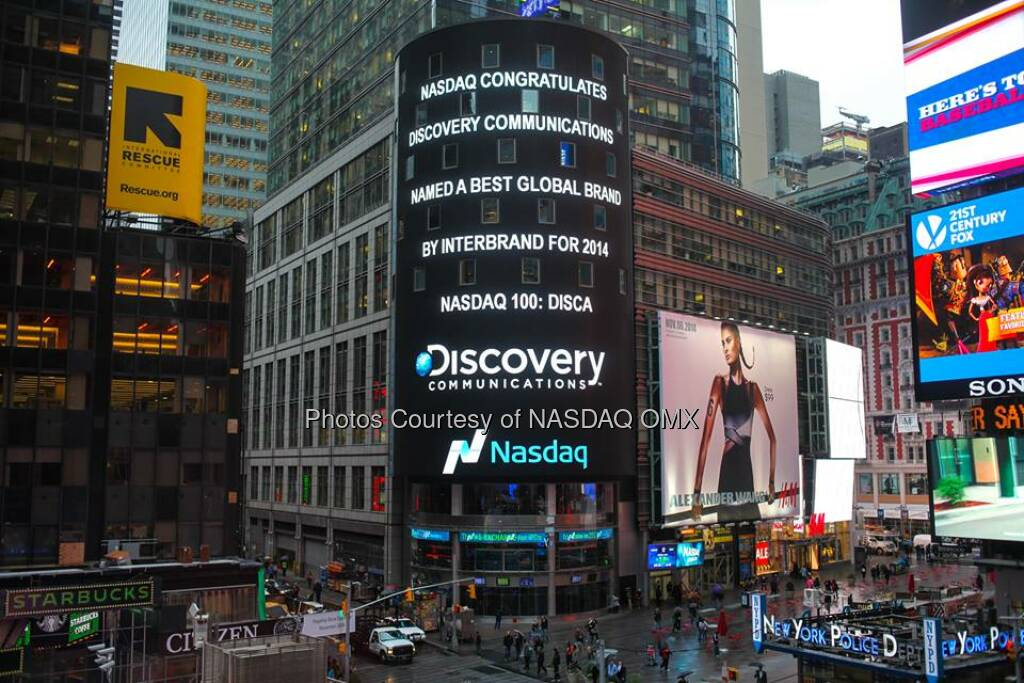Nasdaq congratulates Discovery Communications, named a best global brand by Interbrand! #dreamBIG Discovery $DISCA http://spr.ly/6180qqRM  Source: http://facebook.com/NASDAQ (23.10.2014)