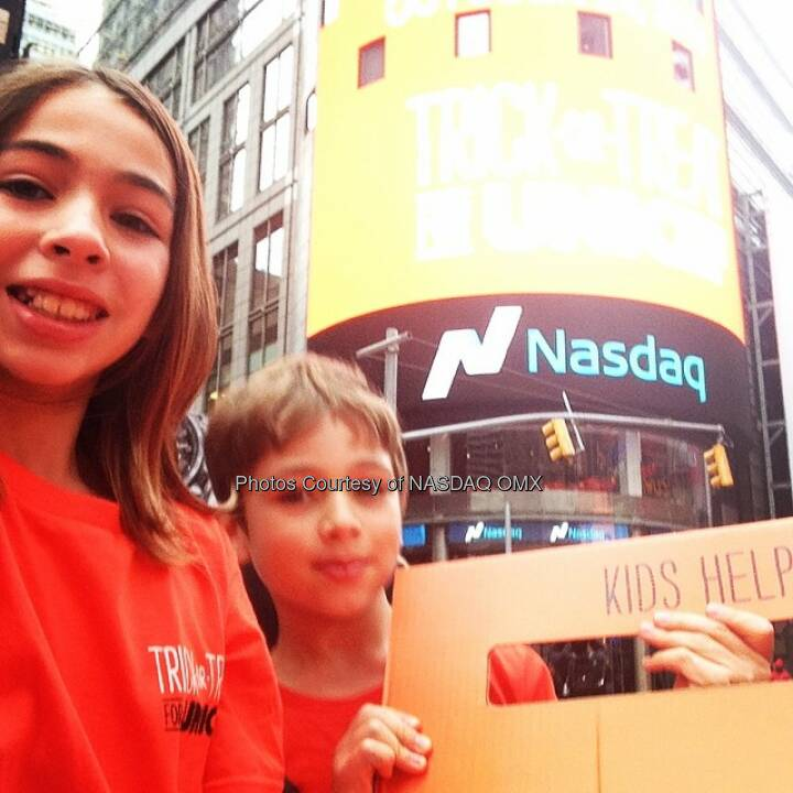 Kids from @UNICEFUSA and their #Nasdaq #selfie moment after the opening bell! #ToT4UNICEF  Source: http://facebook.com/NASDAQ
