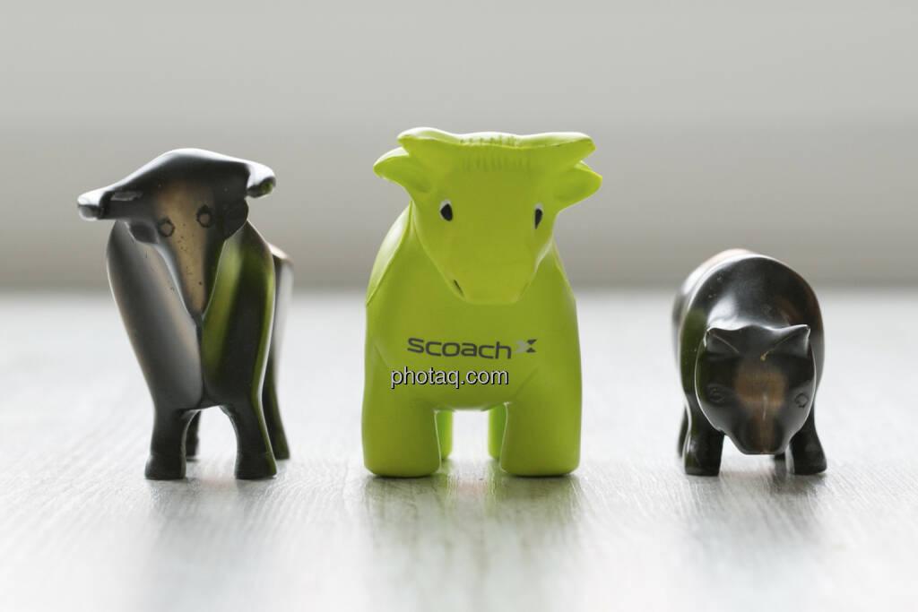 Bulle, Scoachy, Bär, © finanzmarktfoto.at/Martina Draper (30.01.2013)