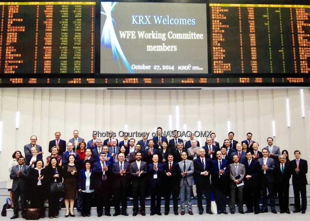 Day 1 of the World Federation of Exchanges' annual General Assembly in Seoul!  Source: http://facebook.com/NASDAQ (27.10.2014)