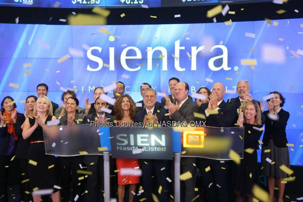 Great photos of Sientra ringing the #Nasdaq Opening Bell in celebration of #IPO today! $SIEN  Source: http://facebook.com/NASDAQ (29.10.2014)
