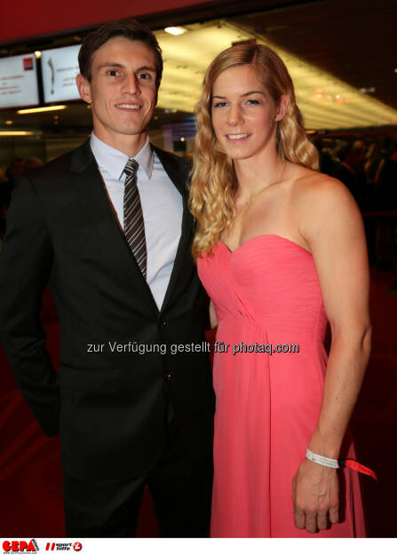 Beate Schrott mit Freund, Lotterien Gala Nacht des Sports, Photo: Gepa pictures/ Walter Luger, ©  Gepa pictures/ Michael Riedler (31.10.2014)
