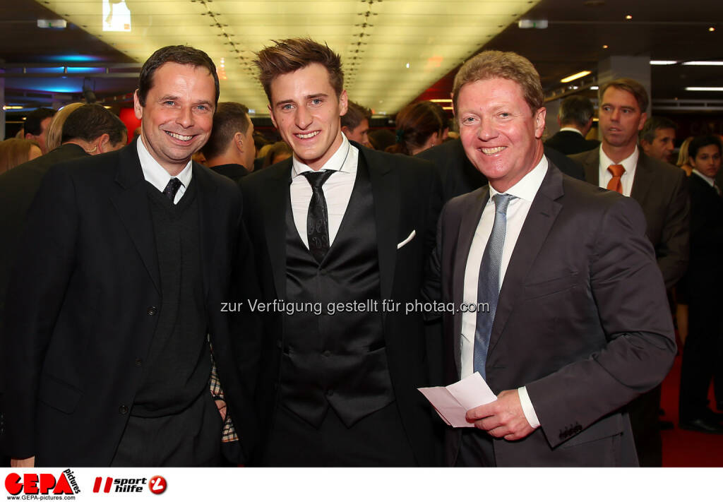 Philipp Bodzenta, Matthias Mayer and Carl Gabriel, Lotterien Gala Nacht des Sports, Photo: Gepa pictures/ Hans Oberlaender, ©  Gepa pictures/ Michael Riedler (31.10.2014)