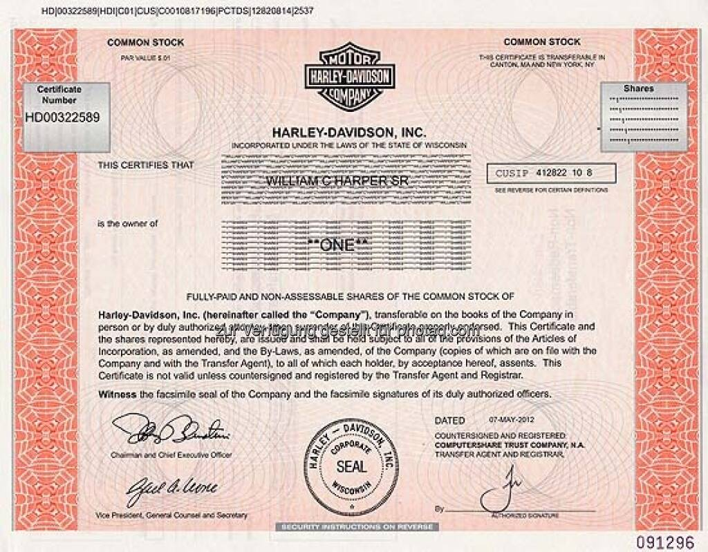 Harley-Davidson: Die Motorräder des amerikanischen Unternehmens aus Milwaukee sind zum Kult geworden. Das Unternehmen wurde 1903 gegründet und ging in den 60er Jahren an die Börse. Die gezeigte Aktie aus dem Jahr 2012 ist ungültig., ©  mit freundlicher Genehmigung von 365aktien.de (01.02.2013)