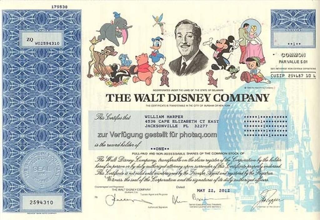 Walt Disney: Der Medienkonzern wurde 1923 von den Brüdern Walt und Roy Disney als Disney Brothers Cartoon Studio gegründet und verdankt seinen Erfolg Mickey Maus & Co. Seit 1986 nennt sich das Unternehmen The Walt Disney Company. Die ungültige Aktie stammt von 2012., ©  mit freundlicher Genehmigung von 365aktien.de (01.02.2013)
