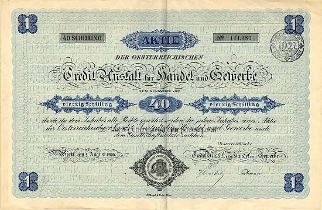 Österreichische Credit-Anstalt für Handel und Gewerbe: Die Bank ist ein Vorfahre der Bank Austria Creditanstalt. Sie wurde 1855 von Anselm Salomon Freiherr von Rothschild gegründet. Das historische Papier von 1926 lautet auf 40 Schilling und ist entwertet., ©  mit freundlicher Genehmigung von 365aktien.de (01.02.2013)
