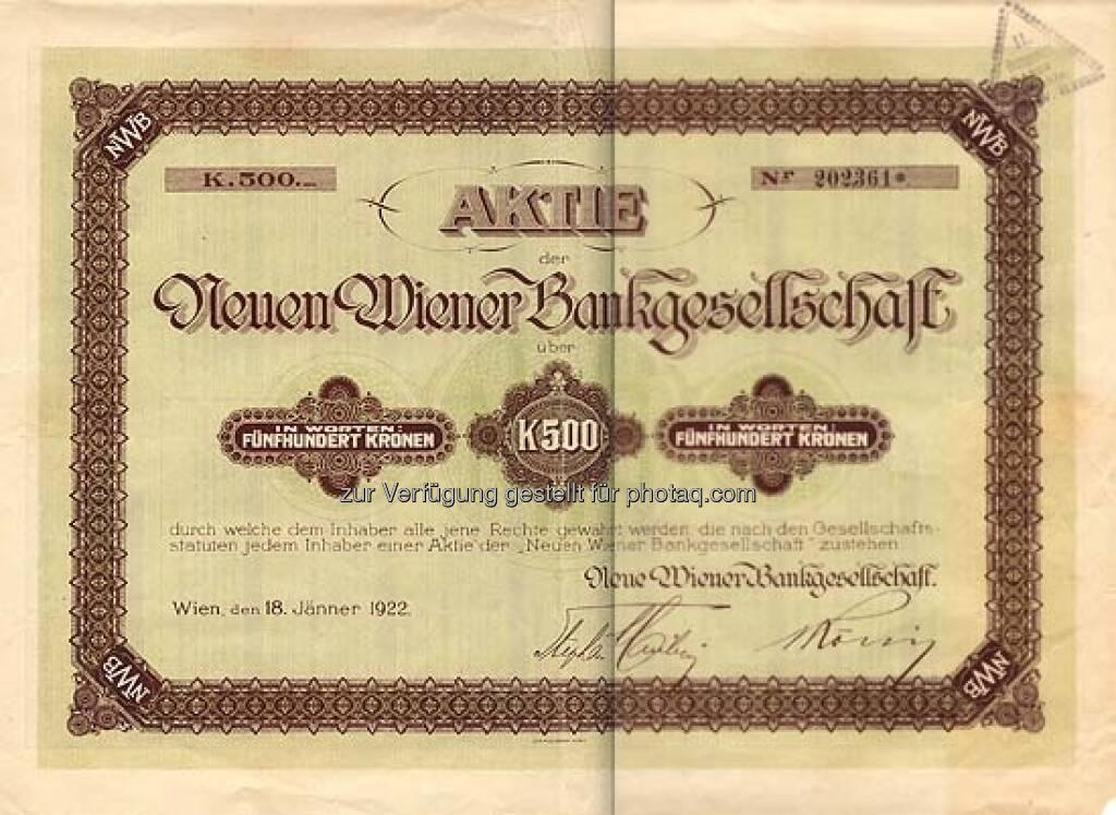 Neue Wiener Bankgesellschaft: Die Bank wurde 1873 gegründet und ging 1926 pleite. Die historische Aktie über 500 Kronen stammt von 1922 und hat heute nur noch Sammlerwert., ©  mit freundlicher Genehmigung von 365aktien.de (01.02.2013)