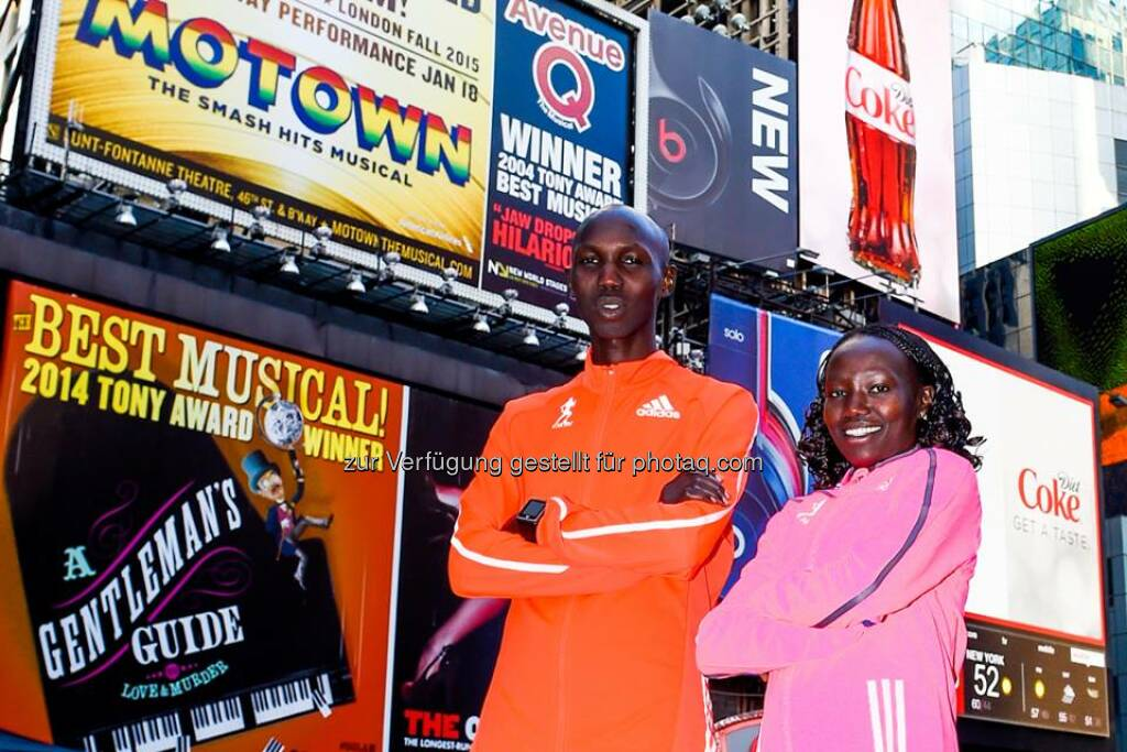 adidas: The choice of champions is #boost.  Wilson Kipsang (2:10:59) and Mary Keitany (2:25:07) claim the TCS New York City Marathon. #boostNYC  Source: http://facebook.com/adidas, © Aussendung (03.11.2014)