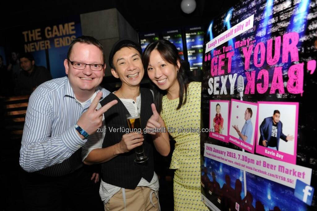Michael Dickstein with stand-up comedian Hossan Leong and Corp Comms colleague Alina Boey  (02.02.2013)