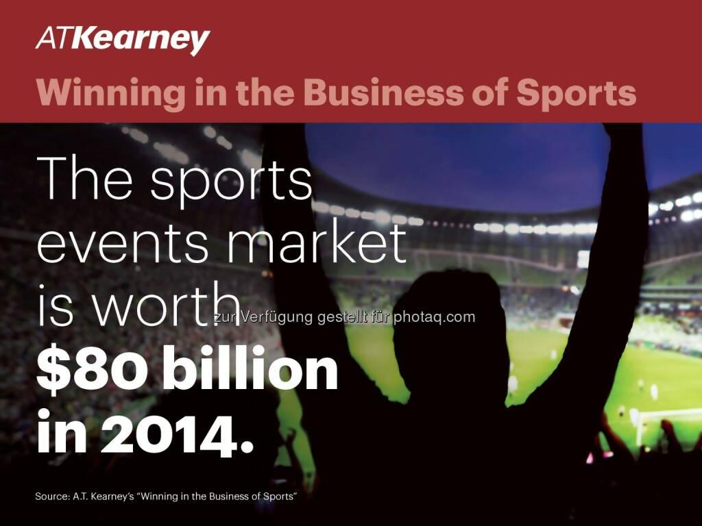 A.T. Kearney-Studie: Sportindustrie wächst schneller als das Bruttoinlandprodukt vieler Länder / Das Marktvolumen der globalen Sportindustrie steigt von auf 91 Mrd. US-Dollar im Jahr 2017, © Aussendung (04.11.2014)