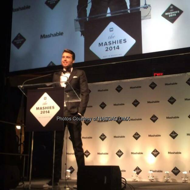 Mashable's Founder & CEO @petecashmore opens the show here at the #Mashies! @mashable  Source: http://facebook.com/NASDAQ (05.11.2014)