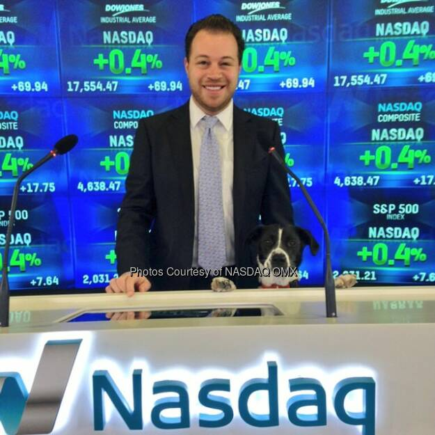 Nasdaq's Jordan Saxe and his dog Stowe at the @Freshpet Opening Bell in celebration of their #IPO today! $FRPT #dogs #dogsofinstagram #dogfood #petfood #dog  Source: http://facebook.com/NASDAQ (08.11.2014)