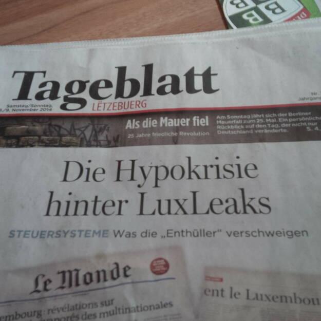 Hypo hinter LuxLeaks (Cover einer Luxemburger Tageszeitung), gesehen und fotografiert von Herbert Gmoser (08.11.2014)