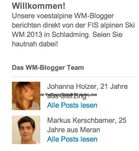 Vorstellung der alpinen WM-Blogger Johanna Holzer und Markus Kerschbamer (zwei Südtiroler), &copy; <a href=