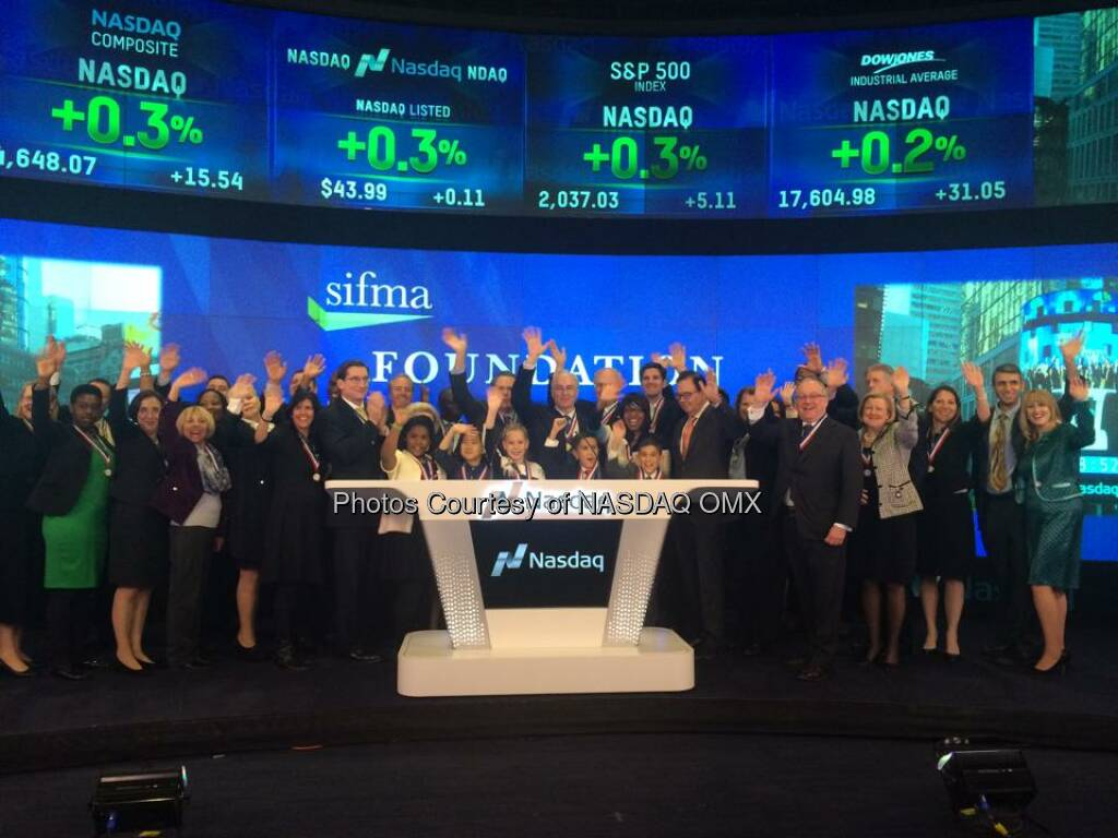 The SIFMA Foundation #stockmarketgame students joined SIFMA to ring the #Nasdaq Closing Bell!  Source: http://facebook.com/NASDAQ (11.11.2014)