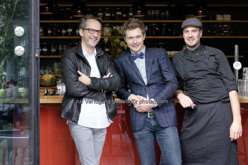 Andreas Wiesmüller, Bert Jachmann, Peter Fallnbügl: Heuer am Karlsplatz engagiert Österreichs besten Barkeeper, © Aussender (11.11.2014)