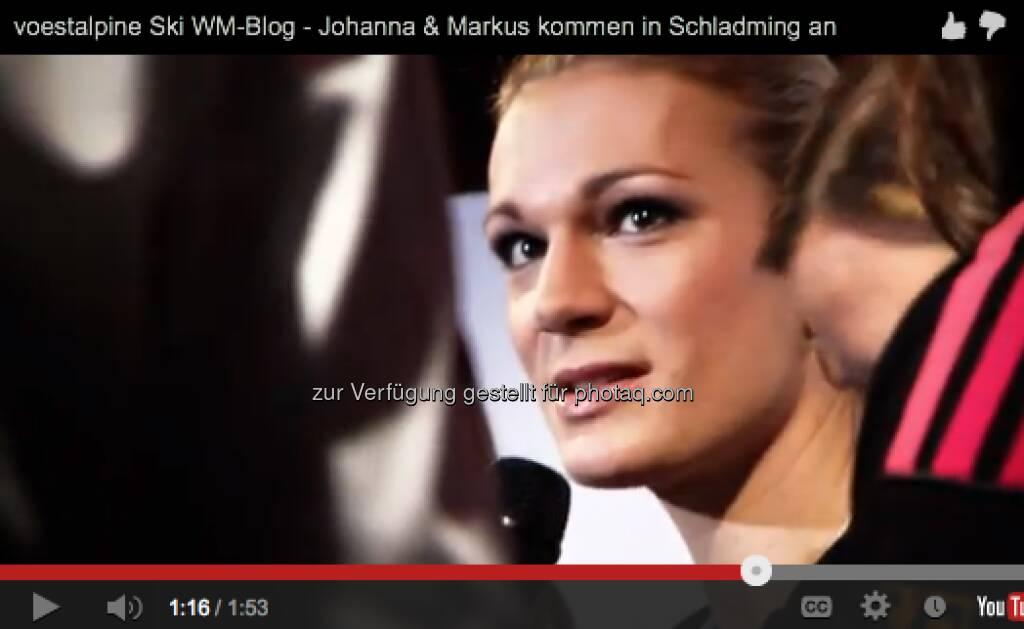 Maria Riesch bei einer PK zur alpinen Ski WM. http://voestalpine-wm-blog.at/2013/02/04/das-blogger-appartement-und-die-erste-pressekonferenz/#.UQ--l47aK_Q, &copy; <a href=