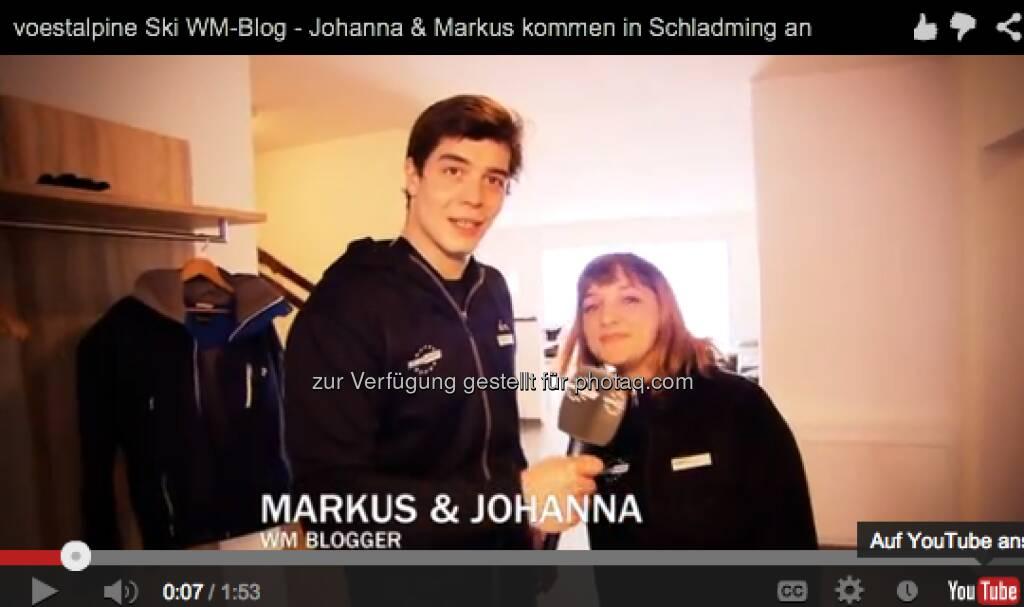 Johanna Holzer und Markus Kerschbamer zeigen das Appartement, das sie bei der alpinen Ski WM bewohnen. http://voestalpine-wm-blog.at/2013/02/04/das-blogger-appartement-und-die-erste-pressekonferenz/#.UQ--l47aK_Q, &copy; <a href=