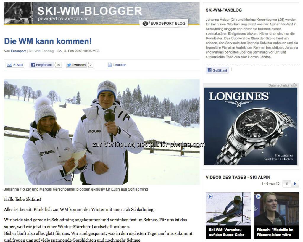Link zum Eurosport-WM-Blog zur alpinen Ski-WM, auch hier sind Johanna, Markus und voestalpine im Mittelpunkt - http://yhoo.it/11MWeYW, &copy; <a href=