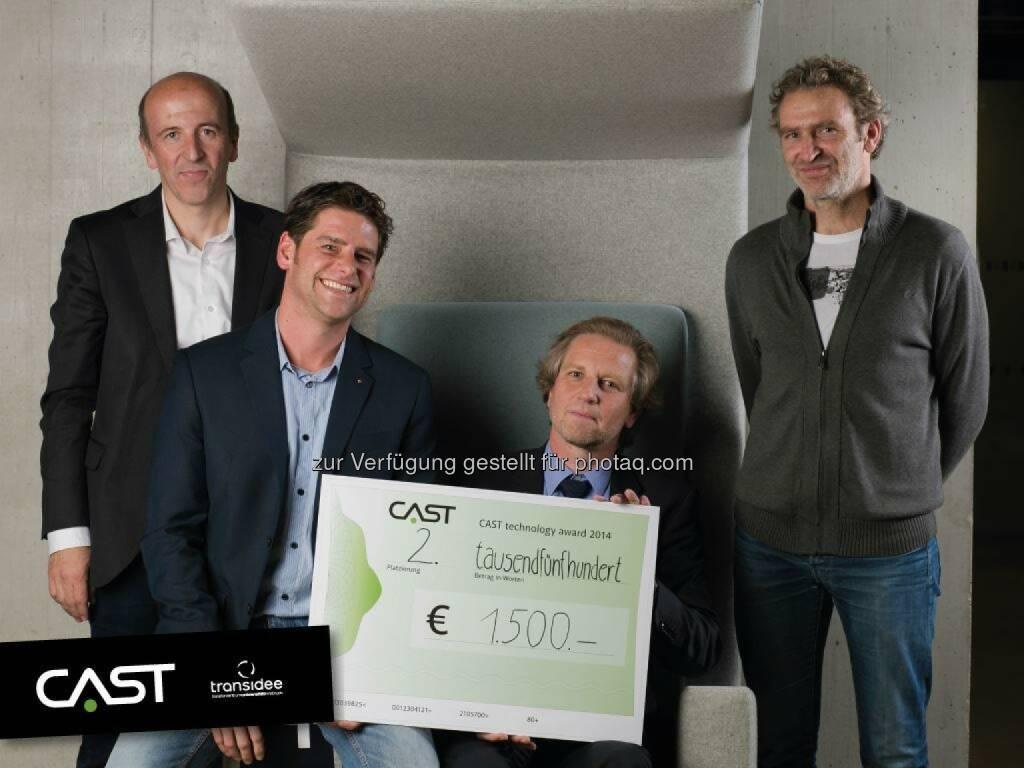 Florian Becke (CAST), Thomas Obholzer (MCI), Ronald Stärz, und Günter Scheide (transidee: )MCI Management Center Innsbruck: MCI Forscherteam erringt 2. Platz beim Cast Technology Award, © Aussendung (13.11.2014)